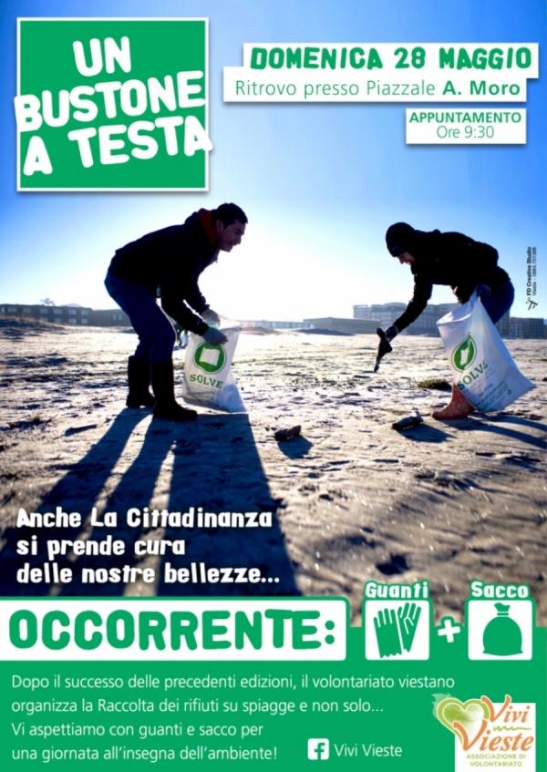 Vieste/ Domenica operazione rifiuti zero: torna UN BUSTONE A TESTA
