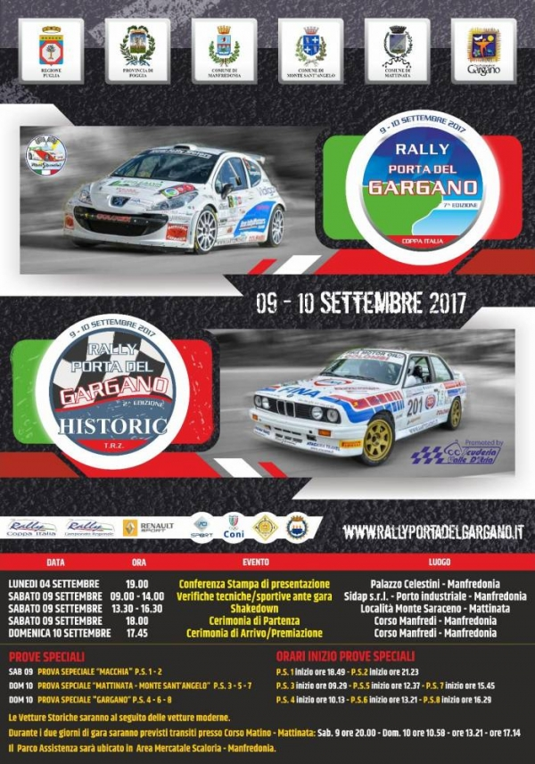 7° Rally Porta del Gargano, al via ben tre equipaggi di Vieste.
