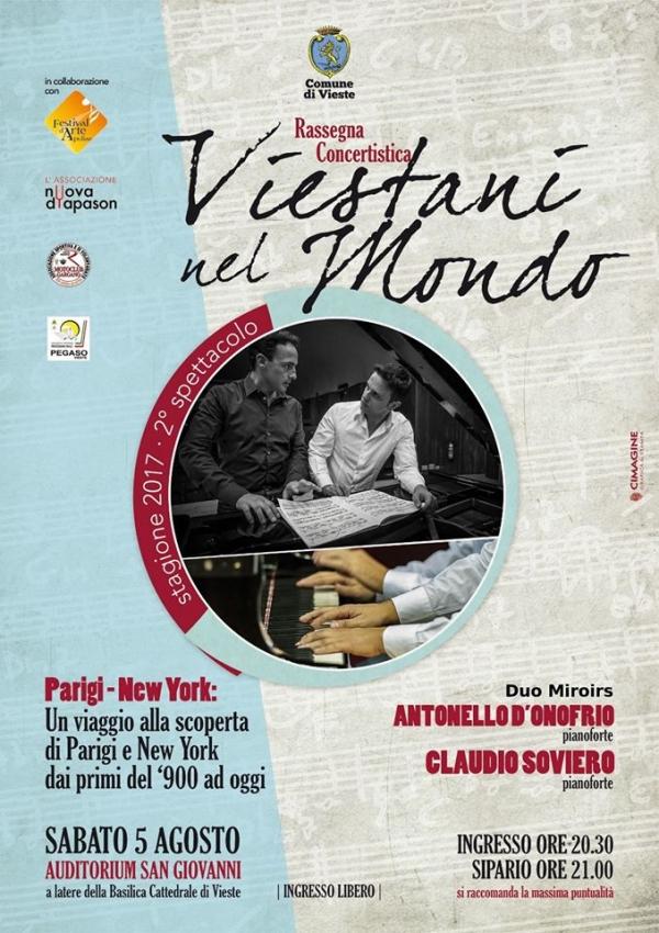 """Vieste - Un duo pianistico in concerto per la rassegna """"Viestani nel mondo"""""""