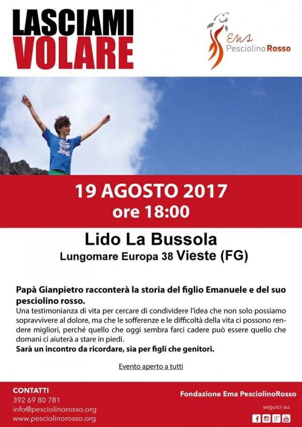 """Vieste/ Al Lido La Bussola il """"benvenuto nel mondo del Pesciolinorosso!"""" Sabato 19 agosto alle ore 18,00"""