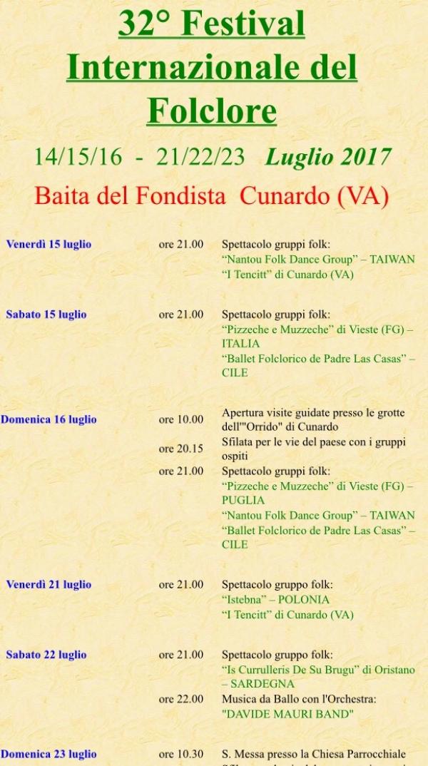 Vieste/ I Pizzeche & Muzzeche pronti per il 32° Festival Internazionale del Folclore a Cunardo