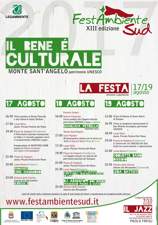 Apre FestambienteSud a Monte Sant'Angelo. Il primo giorno, 17 Agosto, si discute di beni culturali immateriali