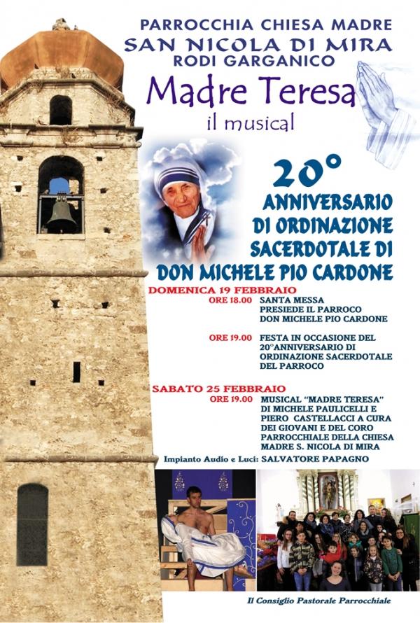 Rodi/ Un Musical sulla vita di S. Teresa di Calcutta… per dire grazie al nostro parroco don Michele Pio Cardone