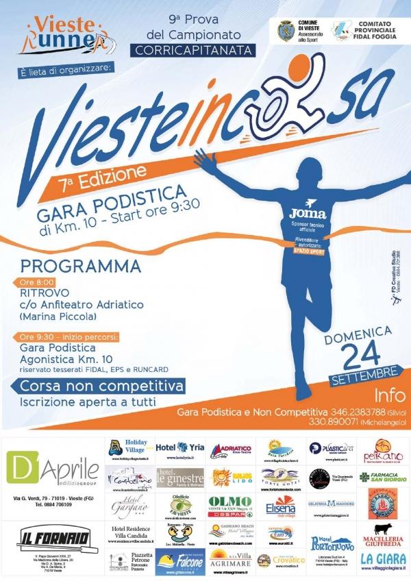 """Tutto pronto per la settima edizione della """"Viesteincorsa"""", gara podistica di km.10, organizzata dalla Vieste Runners con il patrocinio del Comune di Vieste e della Fidal Foggia."""