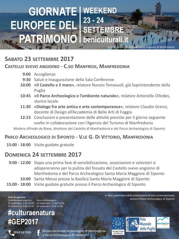 Manfredonia/ GIORNATE EUROPEE DEL PATRIMONIO 2017 - sabato 23 - domenica 24 settembre -