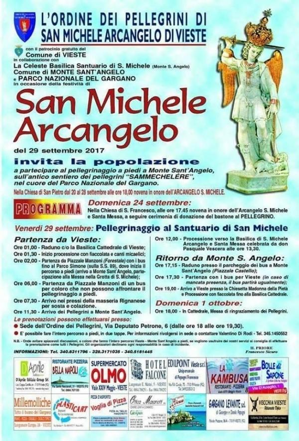 L'INVITO DELL' ORDINE DEI PELLEGRINI DI S. MICHELE ARCANGELO DI VIESTE AL PELLEGRINAGGIO A MONTE S. ANGELO