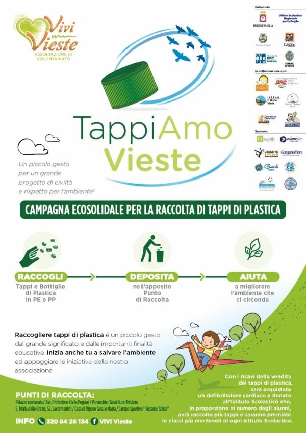 """Il progetto """"TappiAmo Vieste"""" volge al termine. Giovedì al """"Fazzini-Giuliani"""" la manifestazione di conclusione."""