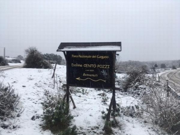 In attesa del gelo siberiano torna la neve sul Gargano e Monti Dauni
