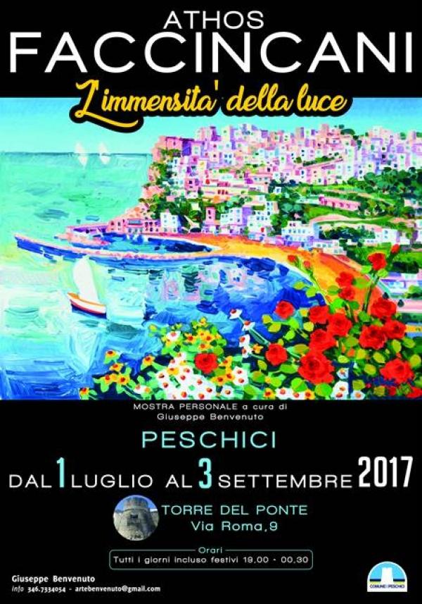 """Peschici/ Si inaugura il 1° luglio la mostra personale di Athos Faccincani: """"l'immensità della luce"""""""