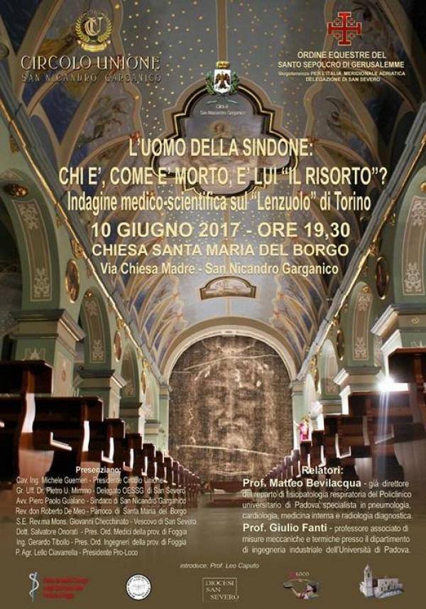 Sacra Sindone a San Nicandro Garganico, se ne parla in un convegno con il prof. Giulio Fanti e Matteo Bevilacqua.