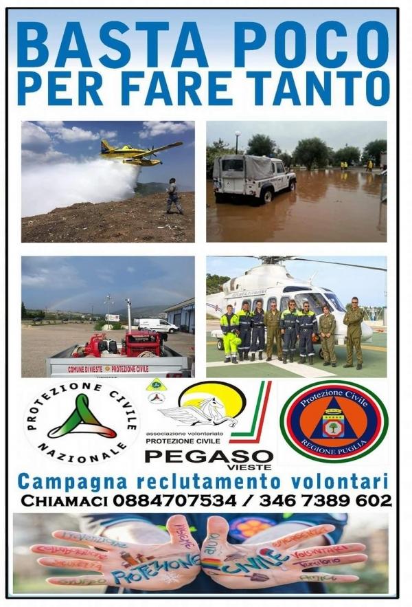 Vieste/ Partita la campagna RECLUTAMENTO VOLONTARI della Pegaso
