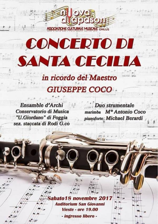 Vieste/ Concerto di S. Cecilia in ricordo del m° Giuseppe Coco. Sabato 18 novembre ore 19.00. Auditorium San Giovanni