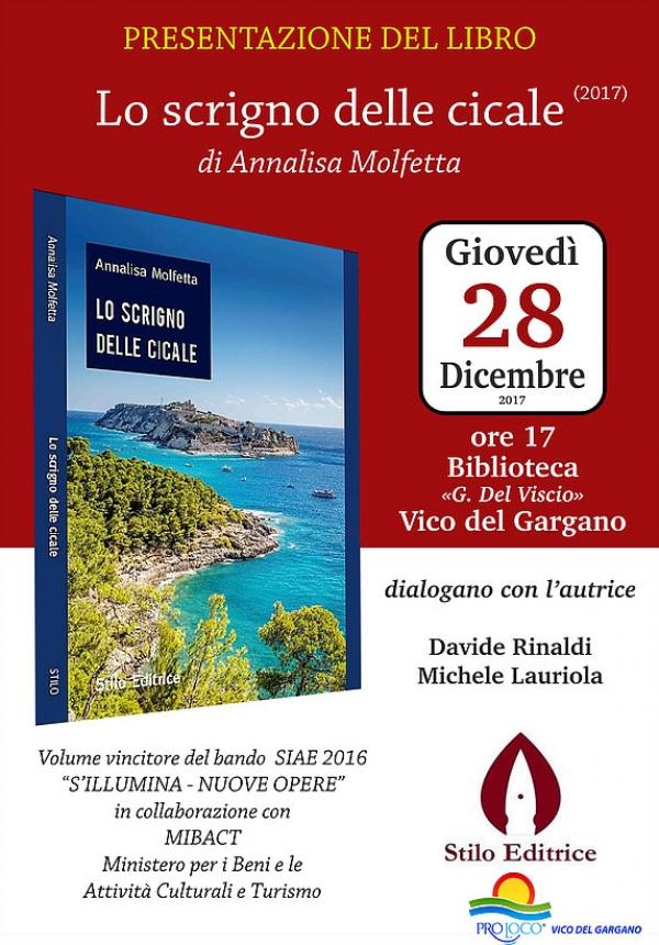 """""""Lo scrigno delle cicale"""" di Annalisa Molfetta, giovedì 28 a Vico, la presentazione."""