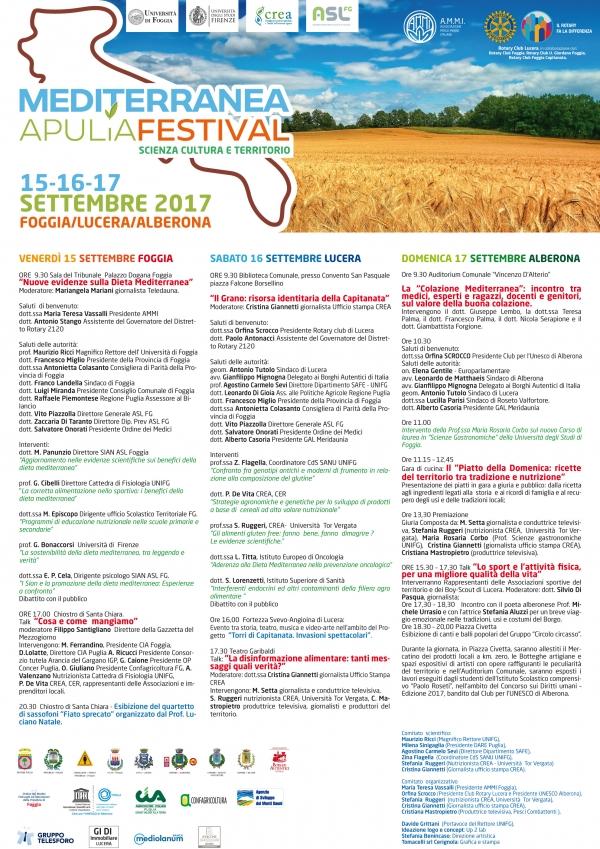 Al via la V edizione dell'evento nato sui Monti Dauni MEDITERRANEA APULIA FESTIVAL - 15/16/17 settembre