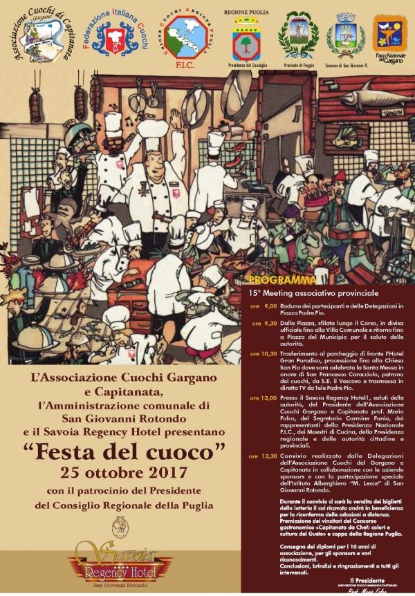 S. Giovanni Rotondo/ Mercoledì la Festa del Cuoco 2017 e 15° meeting associativo.