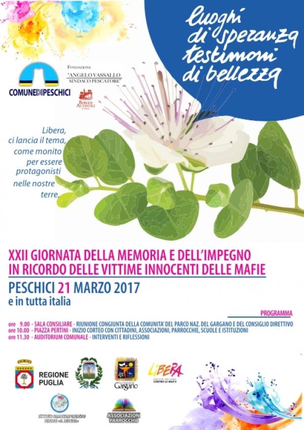XXII Giornata della Memoria e dell'impegno in ricordo delle vittime innocenti delle mafie - Peschici 21 marzo 2017