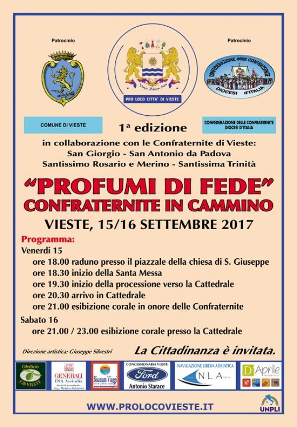 Vieste/ Il 15 e 16 settembre 1° edizione PROFUMI DI FEDE – Confraternite in campo -