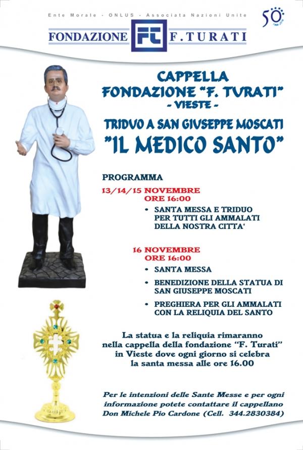 Vieste/ Alla Cappella della Fondazione Turati il triduo al MEDICO SANTO