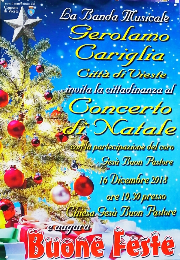 Vieste/ Domenica il GRAN CONCERTO DI NATALE della Banda Musicale GEROLAMO CARIGLIA alla Parrocchia BUON PASTORE