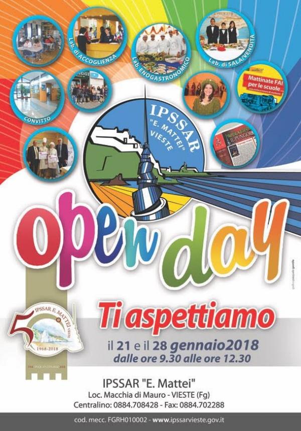 L'IPSSAR E. MATTEI di Vieste, in occasione dell'Open Day, nei giorni 21 e 28 gennaio aprirà le sue porte