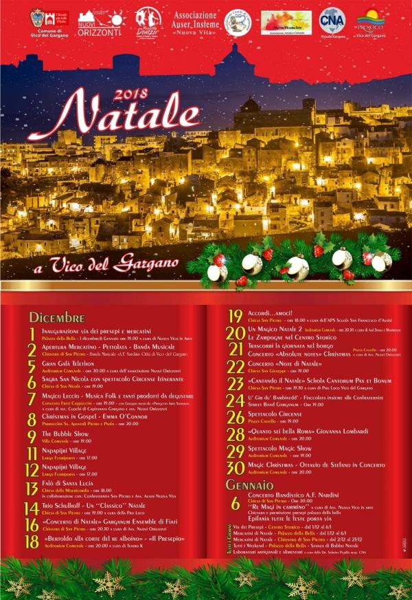 """Natale a Vico del Gargano, un'altra settimana di eventi. Già attivi, fino al 6 gennaio, la Casa di Babbo Natale, i mercatini e la Via dei Presepi. Annullato l'evento previsto """"Napapirj Village"""" previsto il 12 e 13"""