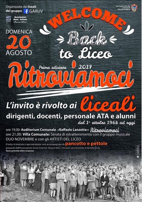Il 20 agosto i liceali di Vico del Gargano si ritrovano.